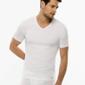 maglietta lovable cotone scollo v stretch bianco